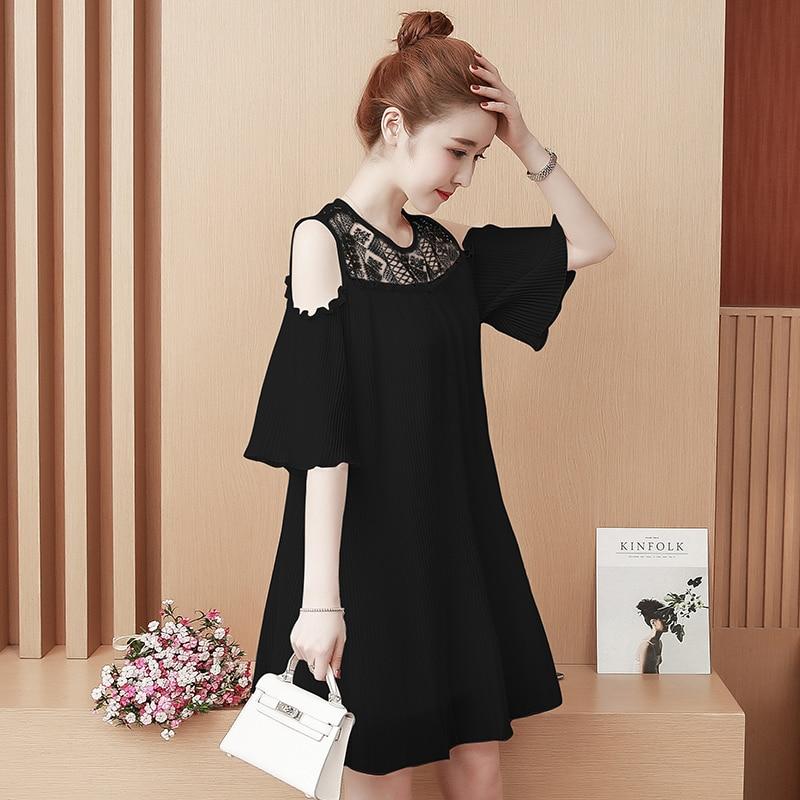 Women Casual Plain Dress Plus Size Short Sleeve Off Shoulder Summer Vintage Elegant Chiffon Dresses Ladies Party Loose Clothes 31