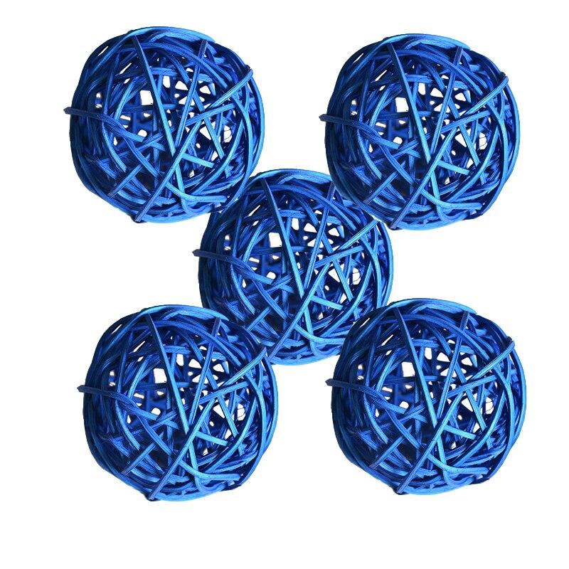 Ротанговые плетеные тростниковые шары диаметром 5 см для сада патио, свадебные, вечерние украшения, DIY для тайского стиля гирлянды - Цвет корпуса: Dark blue