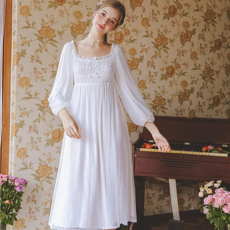 Women Nightgown White Lace Cotton Nightgowns Nightdress Woman Long Sleeve Sleepwear Dress