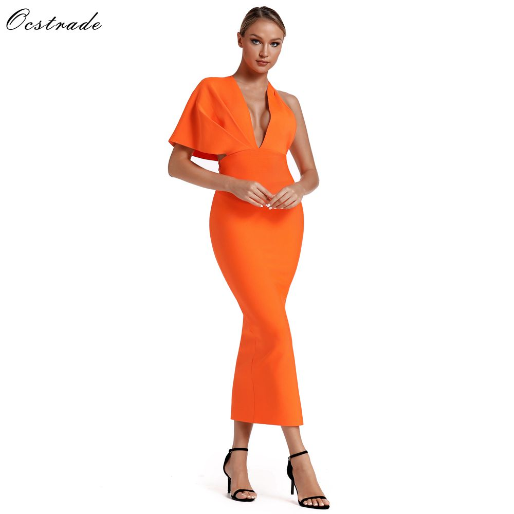 Ocstrade 2019 Summer Orange Draped Bandage Maxi Dress Celebrity Bandage Dresses Sexy Backless Bandage Long Dress Evening Party