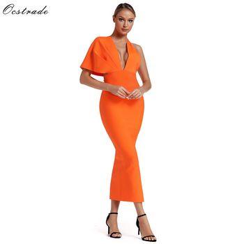 Ocstrade 2019 Summer Orange Draped Bandage Maxi Dress Celebrity Dresses Sexy Backless Long Evening Party