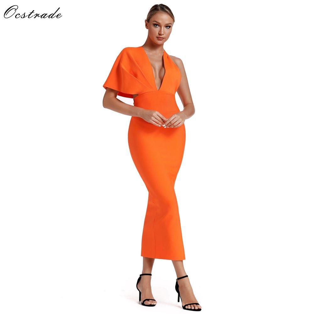 Ocstrade 2019 été Orange drapé Bandage Maxi robe célébrité Bandage robes Sexy dos nu Bandage longue robe soirée