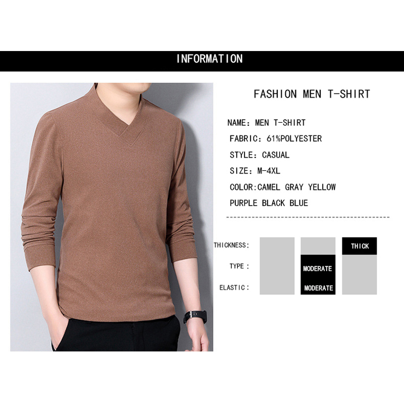 BROWON Autumn New TShirts Men Fashion V-Neck Solid Color Pullover Men Long Sleeve Business Work Oversized T Shirt Men Clothing