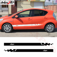 2pcs Car Body Side Stripes Skirt Decor Sticker For-Toyota Aqua Racing Sport Styling Auto Door Both Side Stickers Vinyl Decals car styling racing sticker body waist car stickers door side scratches decorative decals for ford vw bmw toyota audi honda mazda
