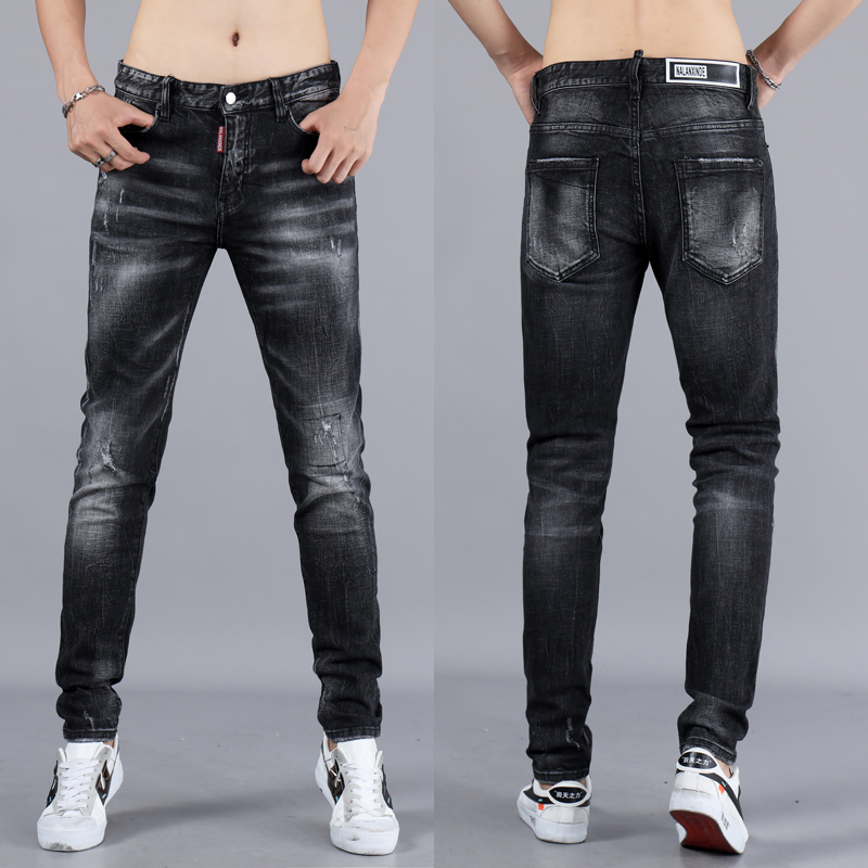Italian Style Fashion Men Jeans Black Color Elastic Ripped Jeans For Men High Quality Brand Designer Skinny Jeans Stretch Pants