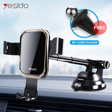 Yesido telescopic Tempered Glass Gravity Car Phone Holder Air Vent Car Mount Holder For iPhone X XS Samsung S10 Mobile Car Stand ottwn gravity car phone holder car air vent mount car holder for iphone 8 x xs max samsung xiaomi mobile phone holder universal