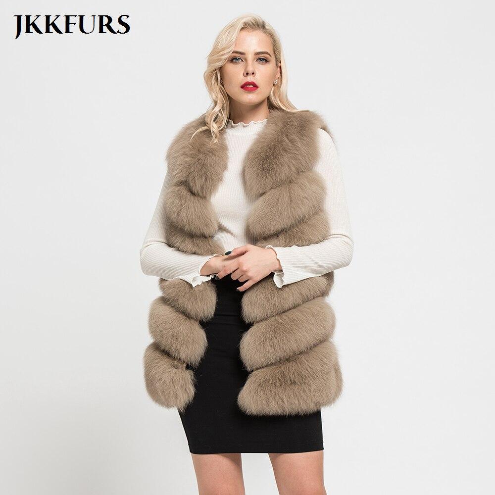JKKFURS 2019 New Fashion Real Fox Fur Vest Women Winter Soft Coat Lady Gilet Thick Warm S1671