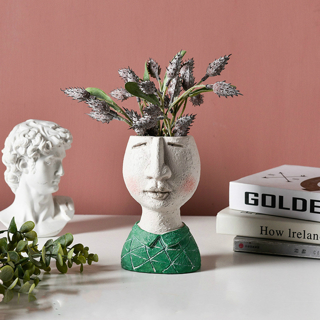 Art portrait sculpture flower pot Nordic Creative dried flower arrangement vase Home Garden decoration Flower Planter Bonsai Pot 5