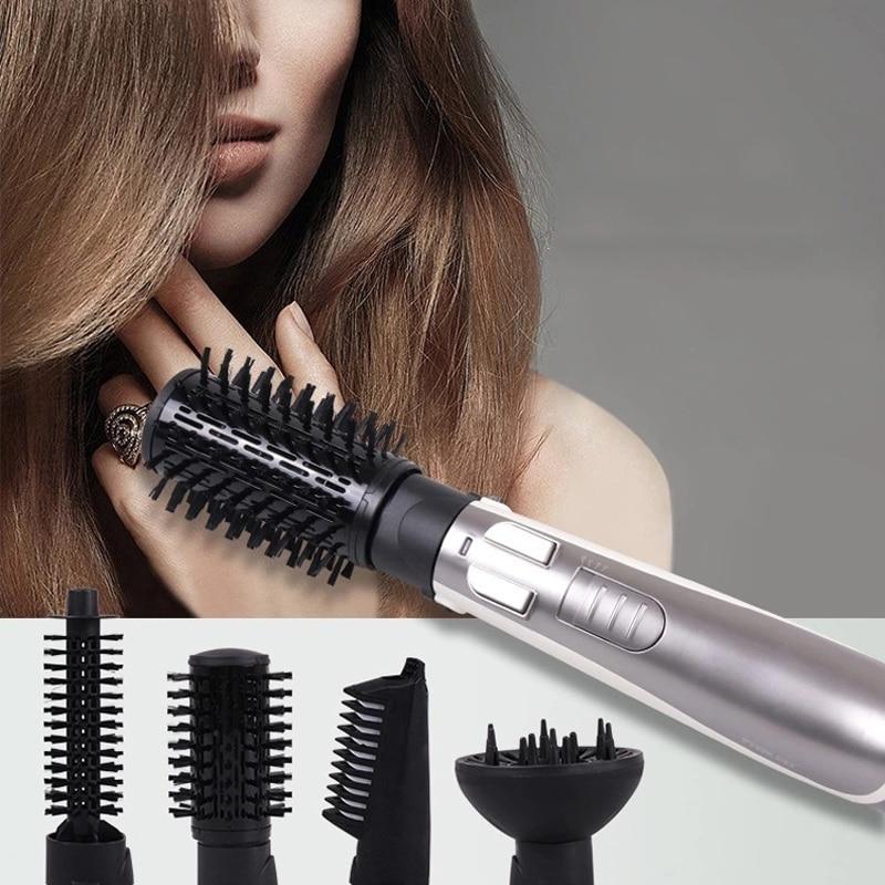 Ev Aletleri'ten Saç Maşaları'de 1000W Saç kurutma makinesi fırçası 4 In 1 Profesyonel 360 Dönen Darbe Kuru Fırça Tarak saç düzleştirici Bigudi Elektrikli Saç rulo fırça'da  Grup 1
