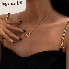 Goth – Collier à chaîne en fer pour femmes, fermoir à bascule, minimaliste, cercle Lariat Lasso, ras du cou, bijoux