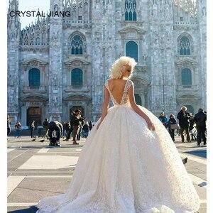 Image 3 - ¡Novedad de 2020! vestido de fiesta Sexy con cuello en V y encaje, hechos a medida vestidos de novia, sin mangas, lazo de vestido de boda, vestido bohemio con tren