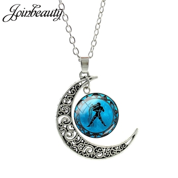 Signos Del Zodiaco JOINBEAUTY, collar con colgante de luna de aguarius Gemini, cadena de enlace de cúpula redonda de cristal, regalo de joyería de astrología de cumpleaños D1145