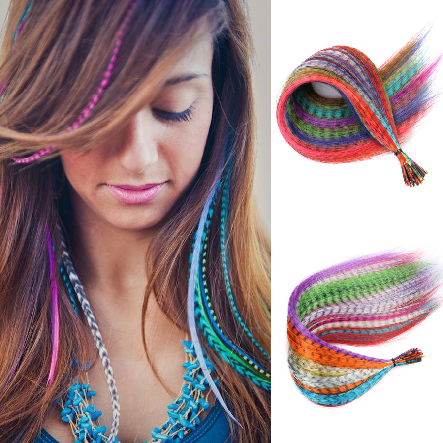 Пряди Kanekalon для наращивания волос с перьями, искусственные синтетические радужные аксессуары для волос для женщин, Плетеный шиньон