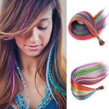 Mèches de Kanekalon pour Extensions de cheveux en plumes, faux cheveux synthétiques arc-en-ciel, accessoires pour femmes, postiche à tresses