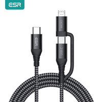Cavo USB ESR cavo di ricarica rapida tipo C a Micro USB carica dati 2in1 fili Android intrecciati in Nylon cavi Micro USB + USB tipo-c