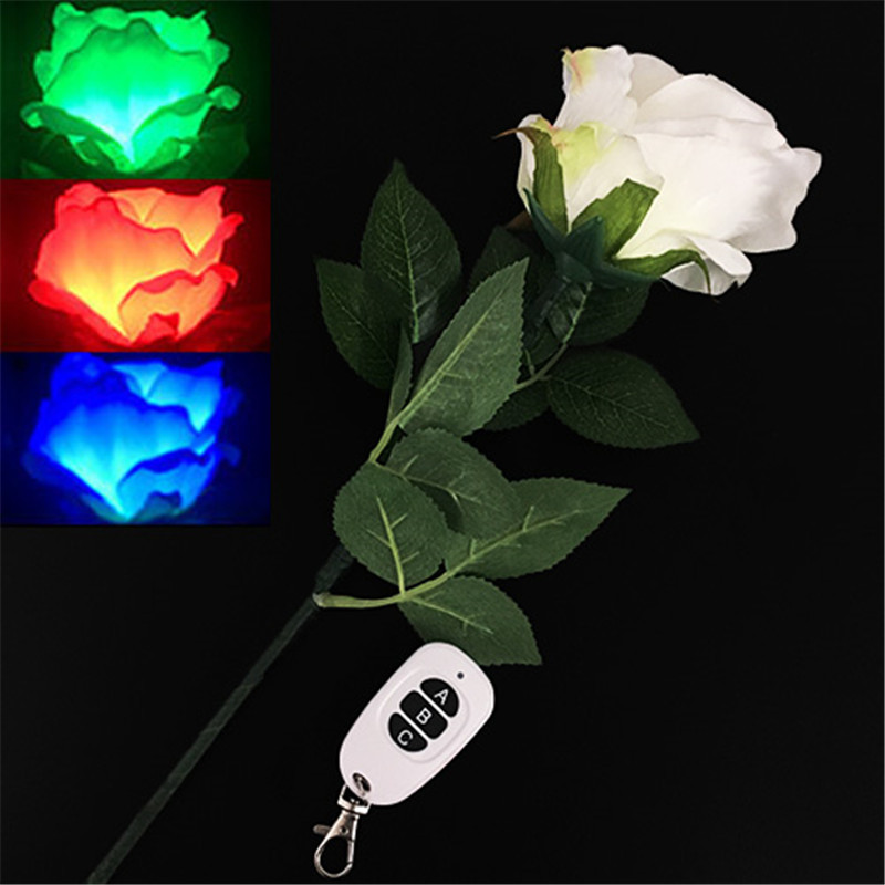 Three-Color Light Rose (Remote Control) Magic Tricks Color Changing Flower Magia Stage Wedding Party Illusions Gimmick Comedy
