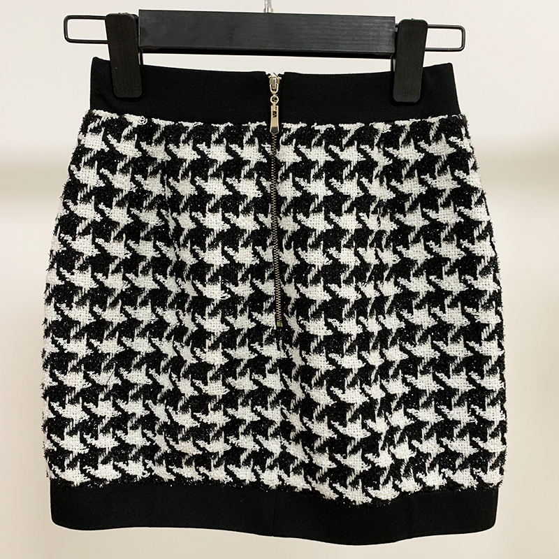 Image 4 - HIGH QUALITY Newest 2020 Designer Skirt Womens Lion Buttons Shimmer Tweed Houndstooth Mini SkirtSkirts