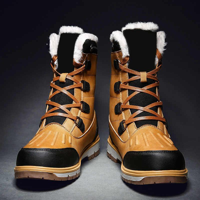 גברים חורף נעלי שלג מגפי חם אנטי להחליק לעבות מקרית עבור חיצוני טיולים C55