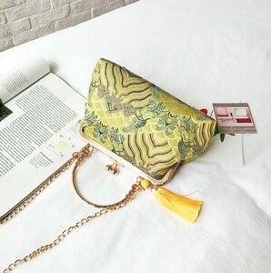 Image 2 - Vintage baiser serrure coquille sac sacs frange fourre tout femmes sacs à main sacs à main chaîne dame femmes épaule sac à bandoulière sacs livraison gratuite