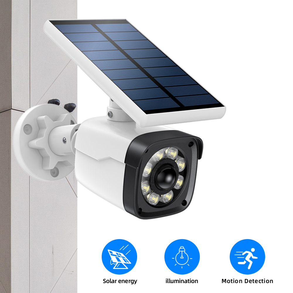 SDETER Fake Camera Waterproof Outdoor Solar Charge Dummy Camera CCTV Security Surveillance Camera Spotlight Motion Detection