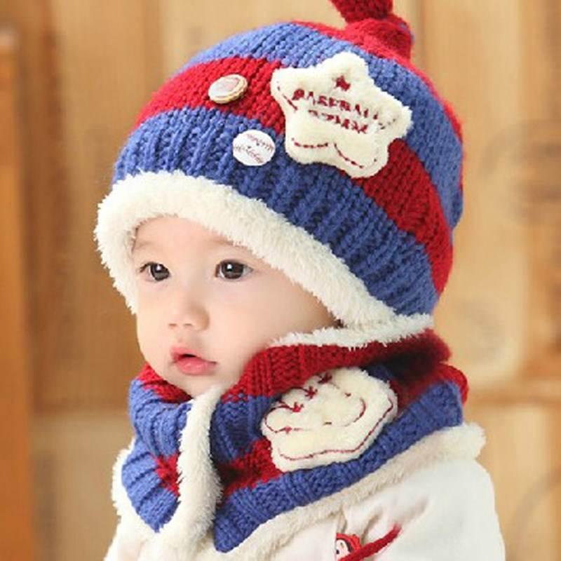 +winter Hat Scarf Set For Kids Girl Warm Woolen Children's Warm Thick Ear Protection Wool Cap Knitted Hat + Bib Set 2020
