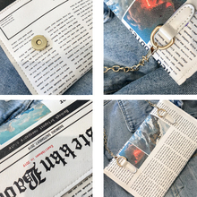 Oswego Envelope Bag Women 2019 New Personality Inkjet Newspaper Clutch Bags Joker Shoulder Messenger Bag Chain Evening Bags