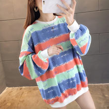 2019 New Harajuku Loose Rainbow Striped Sweatshirts Women O Collar Letters Print Sweet Oversized Hoodie Yellow