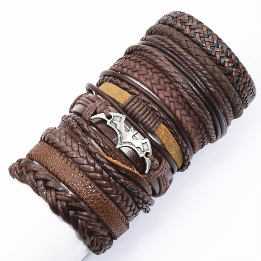 10 Pcs/set Ethic Rope Weave Believe Motorcycle Bat Charm Leather Bracelets Men Women Bangles Homme Femme Male Jewellery Pulseras