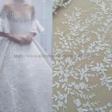 2021 mais novo na moda marfim vestido de noiva tecido de renda 130cm largura vestido de casamento vestido de renda tecido com lantejoulas vender b quintal