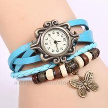 100 шт/партия классические ретро часы с бабочкой винтажные милые часы с подвеской женские часы с браслетом кварцевые из искусственной кожи часы