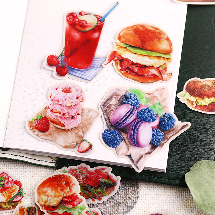 20pcs Cute Burgers And Desserts Food Stickers For Waterproof Bike Phone Book Travel Luggage Toy Funny Sticker Bomb Decals