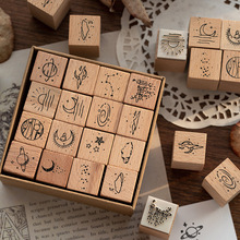 16 pcs/set Moon planet decoration stamp wooden rubber stamps for scrapbooking stationery DIY craft standard seal