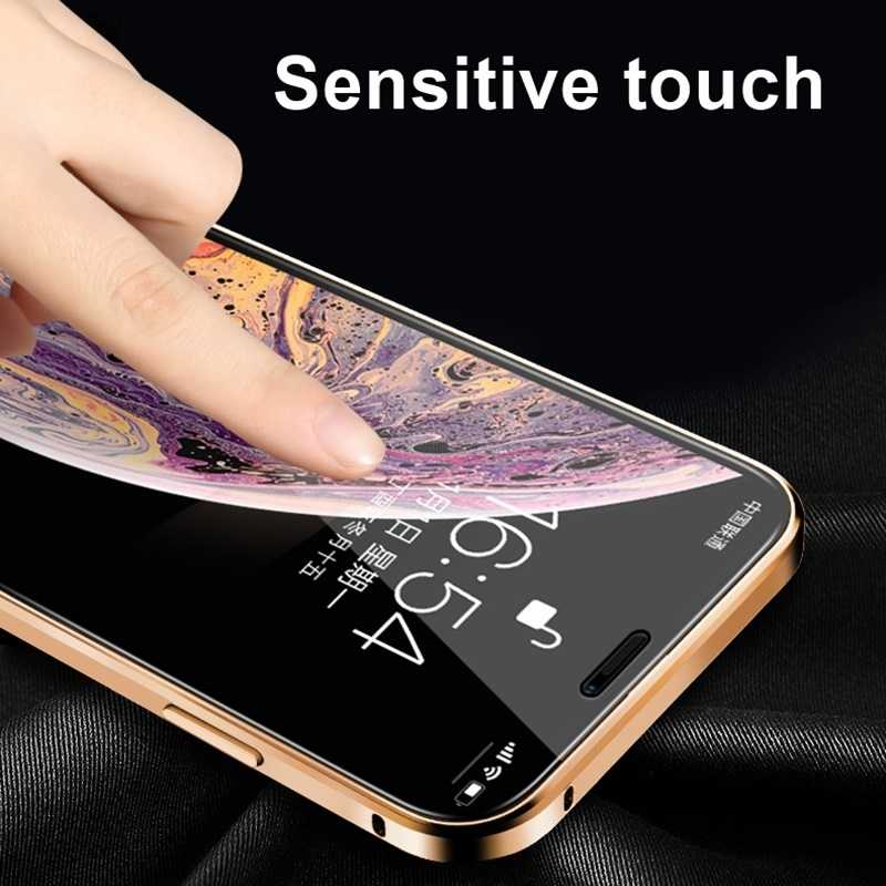 Cristal templado magnético de privacidad de caja de Metal para iphone 11Pro XR XS 11 Pro MAX X 8 7 6S 6 Plus 360 imán Antispy cubierta protectora