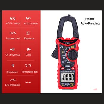 HT206 cyfrowy miernik cęgowy multimetr do pomiaru AC napięcie prądu odporność ciągłości zacisk multimetr bezdotykowy tanie i dobre opinie KKMOON Elektryczne CN (pochodzenie) Digital Clamp Meter for Measuring -40~1000℃ -40~1832℉ 600mV 6V 60V 600V(±0 5 reading+5)