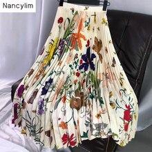 2019 Spring Autumn Women Elegant Flower Printed Pleated Skirt Female Lady's Maxi