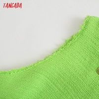 Tangada 2021 Fashion Women Green Tweed Tank Dress Sleeveless Buttons Female Casual Short Dress 5Z230 3