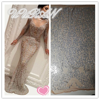 2019 African Lace Fabric High Quality French Net Lace Fabric With Glitter Silver African Lace Fabric For Nigeria Lace Wedding