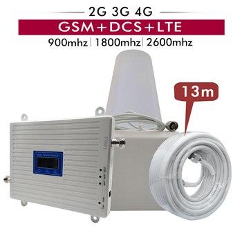 2G 3G 4G Tri Band Ripetitore di GSM 900MHz + DCS/LTE 1800 (B3) + FDD LTE 2600 (B7) Cellulare Amplificatore di Ripetitore Del Segnale Del Telefono Cellulare Antenna Set
