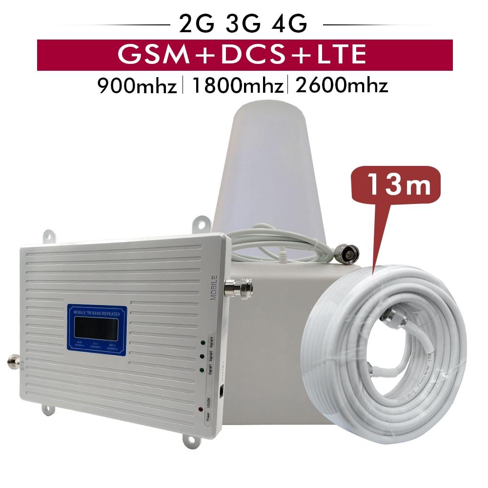 Amplificateur 2G 3G 4G Tri bande GSM 900MHz + DCS/LTE 1800 (B3) + FDD LTE 2600 (B7) ensemble d'antenne amplificateur cellulaire répéteur de Signal de téléphone portable