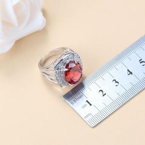 Image 5 - Conjunto de joyas grandes para novia, collar y pendientes de granate rojo Natural, plata 925, bisutería de boda, joyería para mujer, caja de regalo
