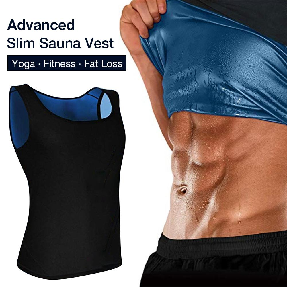 Mens Sauna Sweat Vest Training Gym Tank Thermo Shaper for Weight Loss Slimming