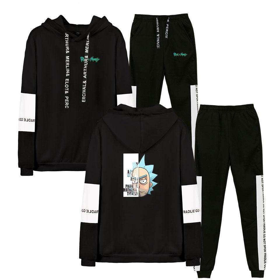 Rick And Morty Season 4 Men/Women Hoodies Set Spring Autumn Cotton Hoodies Two-piece Set 2019 Hoodies Sweatshirt Pant Suit