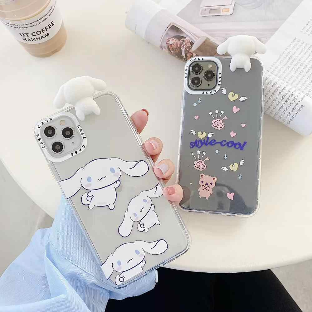 Japan Sanrio cartoon Cute Cinnamoroll dog doll TPU soft case for iphone 7 8 plus 11 Pro X XS MAX XR anime doll story cover coque