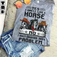 Camiseta de algodón para hombre, camiseta con olor A caballo, S-6XL