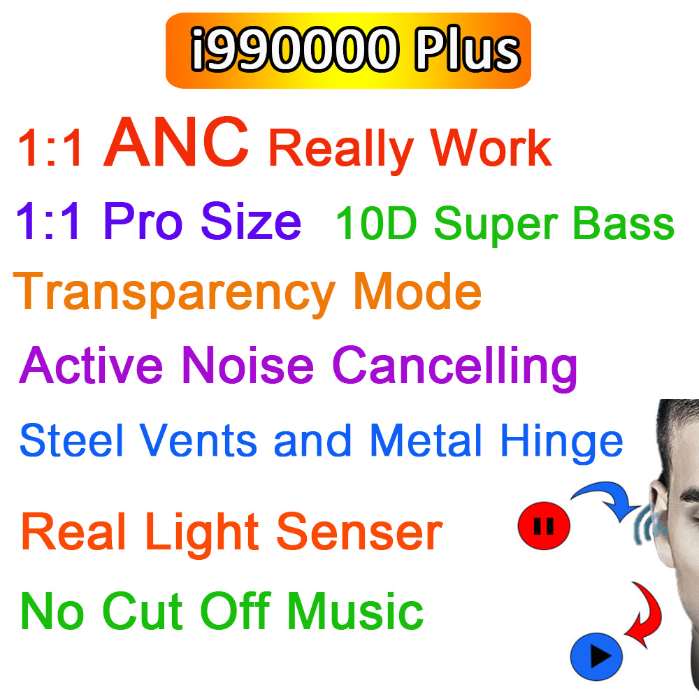 i990000 Plus TWS Wirelesss Bluetooth Earphones 1:1 ANC Noise cancelling & Transparency