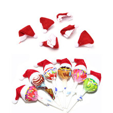 6Pcs Hot Sale Mini Topi Santa Claus Natal Liburan Lollipop Top Topper Cover Festival Dekorasi Grosir(China)