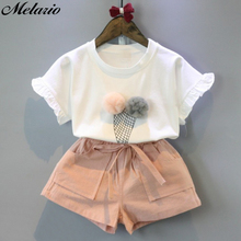 Children Grils Fashion Clothing Sets 2016 Brand Girls Clothes Kids Sleeveless Whirte T-Shirt + Short 2Pcs Suits