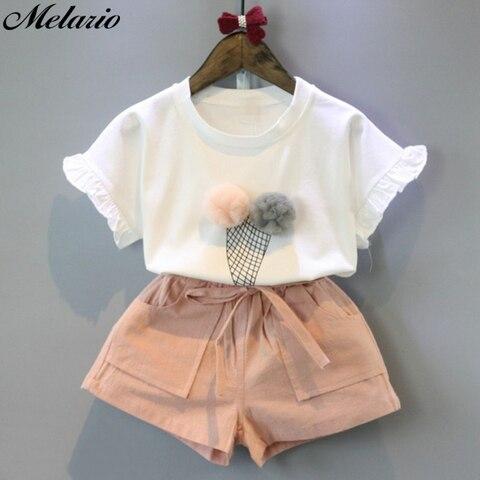melario algodao conjuntos de conjuntos de roupas meninas verao colete de duas pecas sem mangas