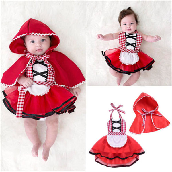 Bebê recém-nascido da criança da menina cabresto tutu macacão vestido vermelho manto pouco vermelho equitação capuz outfits festa cosplay traje 0-24m