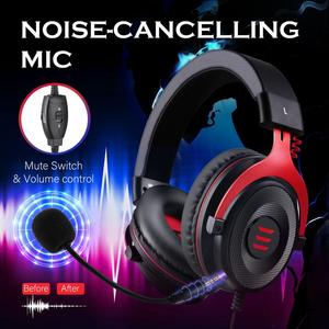 Image 2 - EKSA Gaming Headset Wired Gamer Headset  3.5mm Over Ear Headphones With Noise Cancelling Mic For PC/Xbox/PS4 One Controller